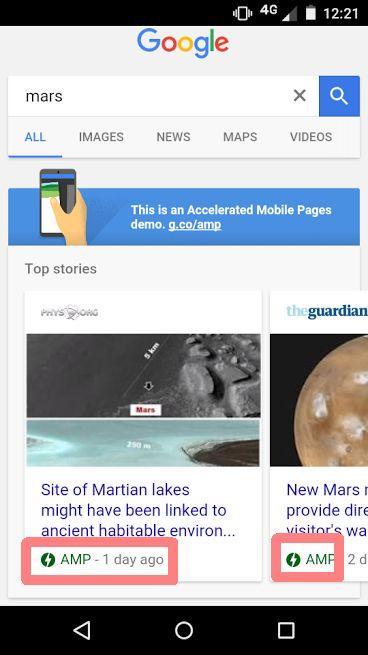 pages AMP dans les résultats de recherche