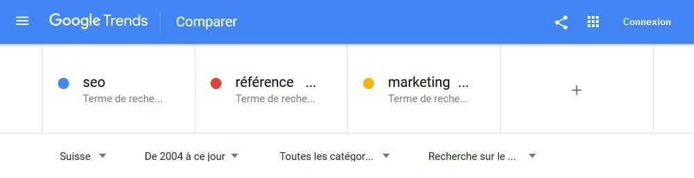 Google trends aperçu pour les mots seo webmarketing et marketing digital