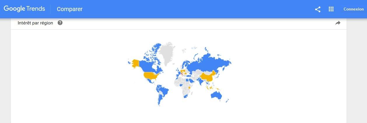 Google Trends intérêt par région