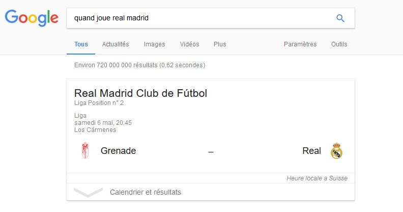 Affichage réponse rapide Real Madrid