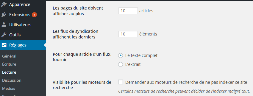 Capture d'écran option WordPress - ne pas indéxer son site