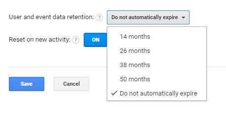 Aucune expiration automatique dans Google Analytics