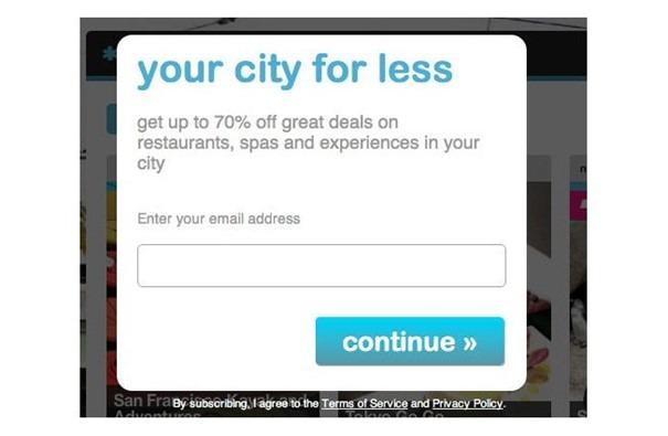 Exemple de page de destination de Living Social avec inscription par e-mail